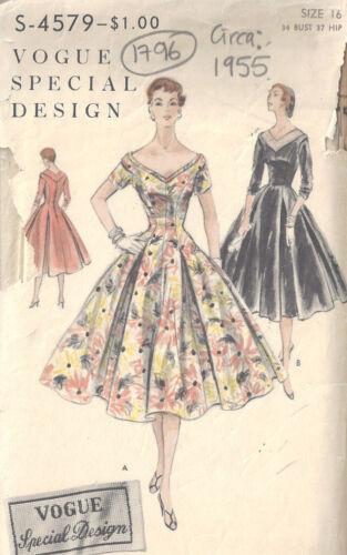 1955 Vintage Sewing Pattern B34 DRESS 1796