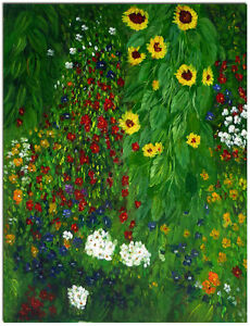 Image Is Loading Farmer Garden With Sunflowers Hand Painted Gustav Klimt
