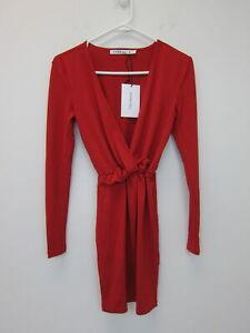 ASOS-Women-039-s-Ivyrevel-Long-Sleeve-Ruffle-Waist-Dress-XS-Red-NWT