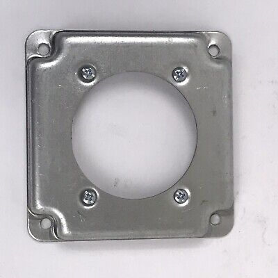 """Steel City RS14 Galvanized Steel 4"""" Square Receptacle Outlet Box Cover~NEW~"""