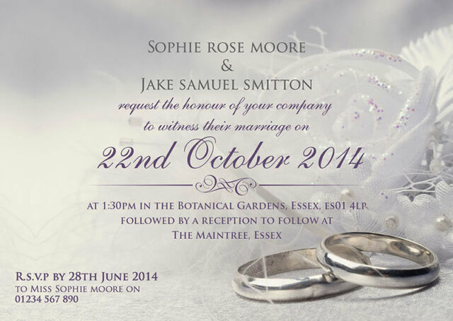 Wedding Invitations and envelopes Silver Ring Design