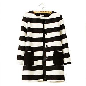 Le Prix Le Moins Cher À Rayures Doublé Blazer Jacket Pardessus Long Femmes Noir Blanc Taille 6 8 10 12 14 Uk-afficher Le Titre D'origine Un Style Actuel