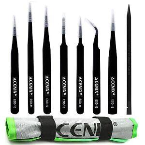 Acenix 8 Stk. Set Professionelle ESD Antistatische Pinzette + Schwarz Nylon