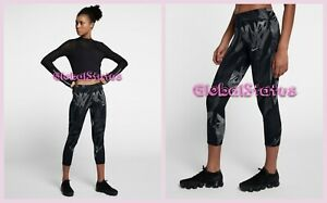 WOMENS NIKE POWER EPIC LUX CROPPED PRINTED RUNNING CAPRI TIGHTS 856615 010 XS