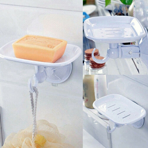 Hook Suction Cup Wall Mounted Soap Tray Sponge Rack Draining Storage Box