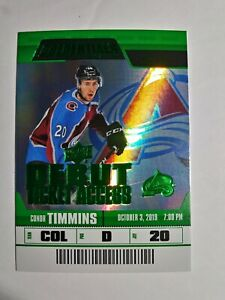 2019-20-UD-Credentials-Debut-Ticket-Access-Green-Conor-Timmins-06-25-Avalanche