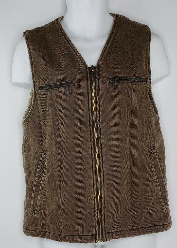 Woolrich Dorrington Barn Chore Work Vest Mens Medium Brown Full Zip Fleece Lined