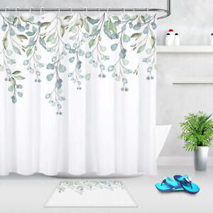 Chinese Ink Painting Style Shower Curtain Waterproof Fabric Bathroom Mat Liner