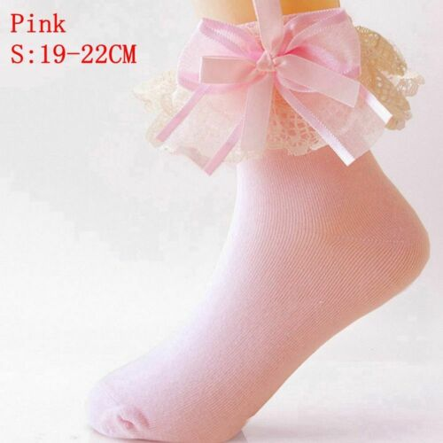 Fashion Ankle Baby Girls Sweet Lace Frilly Ruffle Princess Socks Cotton Big Bow
