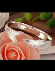 UK-925-stamped-silver-FISH-open-bangle-birthday-lady-men-friend-DAD-MUM-GIFT
