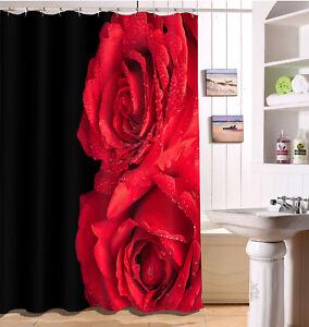 Image Is Loading Red Bloom Rose On Black Shower Curtain Set
