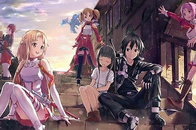 "20x13""Silk Fabric Cloth Wall Poster Print Sword Art Online SAO ALO Japan Anime"
