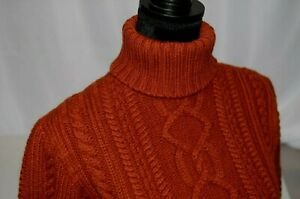 becf661ebca8c Paul James Sz S Chunky Cable Knit Turtleneck 100% Wool England Rusty ...