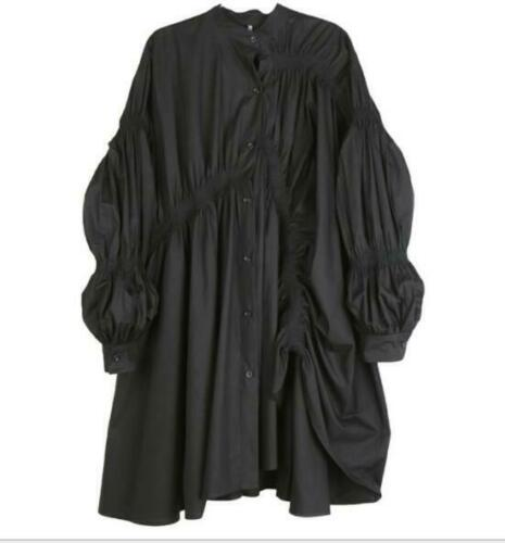 Womens Mid Long Shirt Dresses Occident Solid Runway Long Lantern Sleeves Fashion