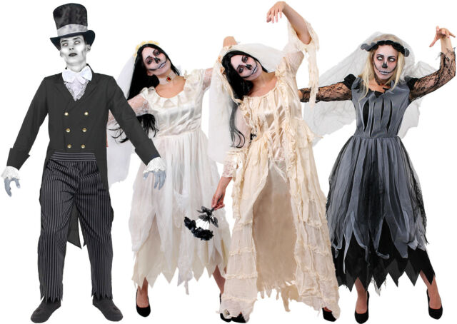 Bride And Groom Halloween Costume.Couples Halloween Costume Mens Womens Corpse Bride Groom Dead Ghost Fancy Dress