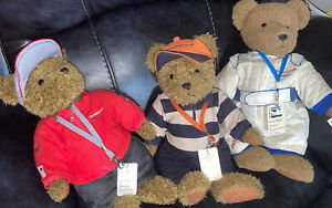 3 Rare Porsche Motorsports Teddy Bears All With Race Racing Pass. Great Detail
