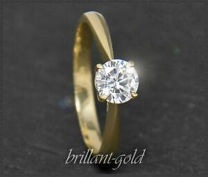 Diamant-585-Gold-Brillant-Solitaer-Verlobungsring-mit-0-64ct-Si1-Damen-Ring-NEU