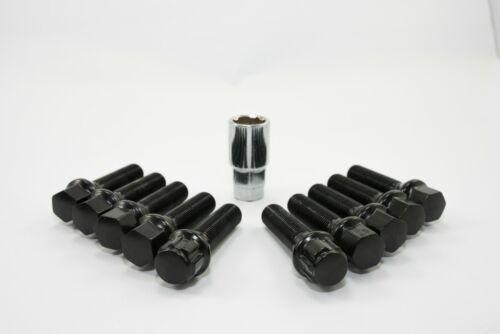10PCs Black Locking Lug Bolts 40mm Ball Seat For Audi Volks Wagen Mercedes Benz