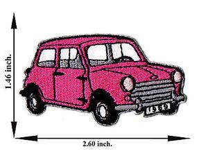 pink mini cooper austin model vintage classic car applique iron on patch sew ebay. Black Bedroom Furniture Sets. Home Design Ideas
