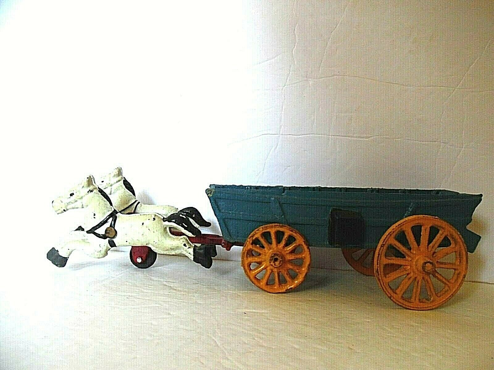 Vintage Cast Iron bluee Wagon With White Horses
