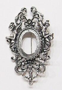 4-of-25x18-mm-Antique-Silver-Victorian-Muses-Graces-Brooch-Pin-Pendant-Settings
