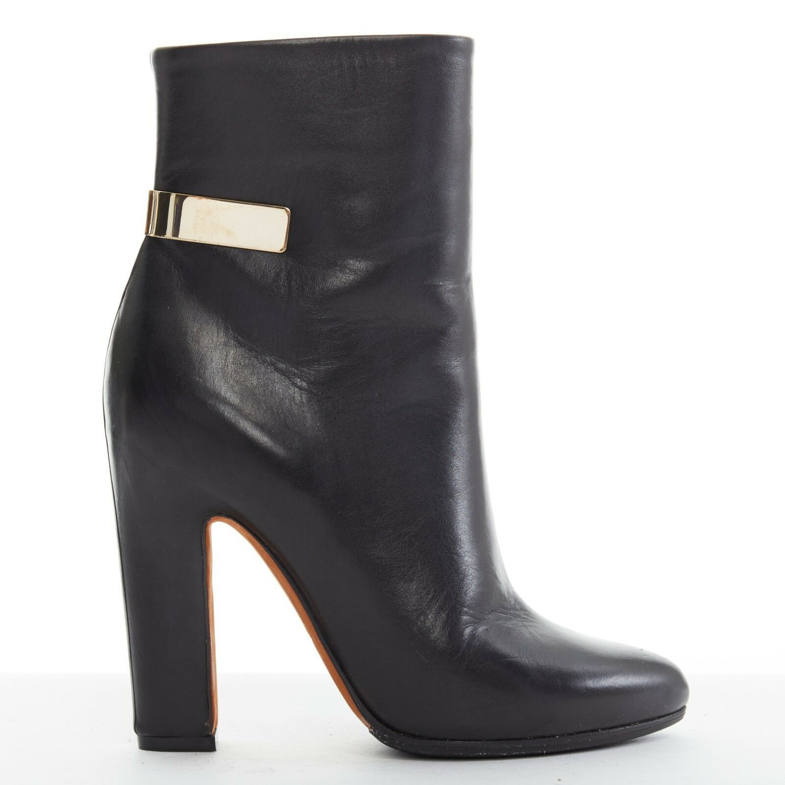 GIVENCHY black almond toe gold metal bar detail chunky heel heel heel ankle boot EU35.5 d65425