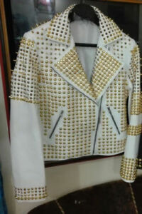 Spiked Gold Leather Jackets Studded Handmade Coat Women Fashion Cowhide Style qFacp