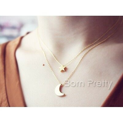 Fashion Cute Star Moon Necklace Metal Double-layer Women Pendant Jewelry