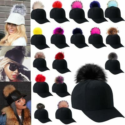 New Ladies Celebrity Style Detachable Real Fur Pom Pom Baseball Cap Hat