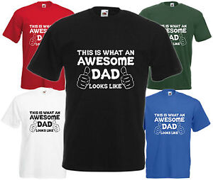 Awesome-DAD-mains-T-shirt-cadeau-fete-peres-noel-present-cool-anniversaire-Tee-Drole