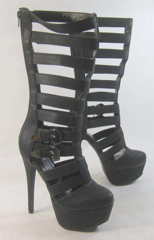 Blacks 6 Stiletto high heel 2 platform front straps sexy mid-calf boot Size  7.5