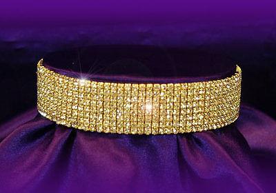 8 Rows Clear Rhinestone DANCER Stripper Stretch Necklace Choker Goldtone Metal