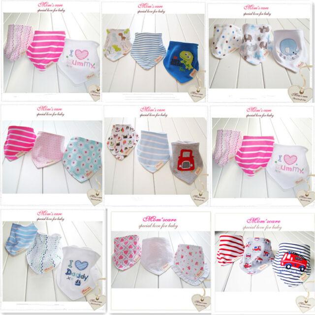 1set/3pcs Bandana BIB Towel Cotton Kids Infant Cartoon Animal saliva Towel