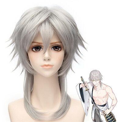 Touken Ranbu Online Tsurumaru Kuninaga Anime Cosplay Gray hair wig wig cap