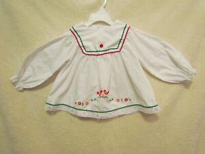Vintage-Merry-Mites-Toddler-Girl-s-White-Blouse-Shirt-Red-amp-Green-Trim-GUC