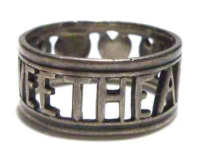 RARE STYLE STERLING SILVER ART DECO MILITARY SWEETHEART NAVY AIR FORCE RING BAND