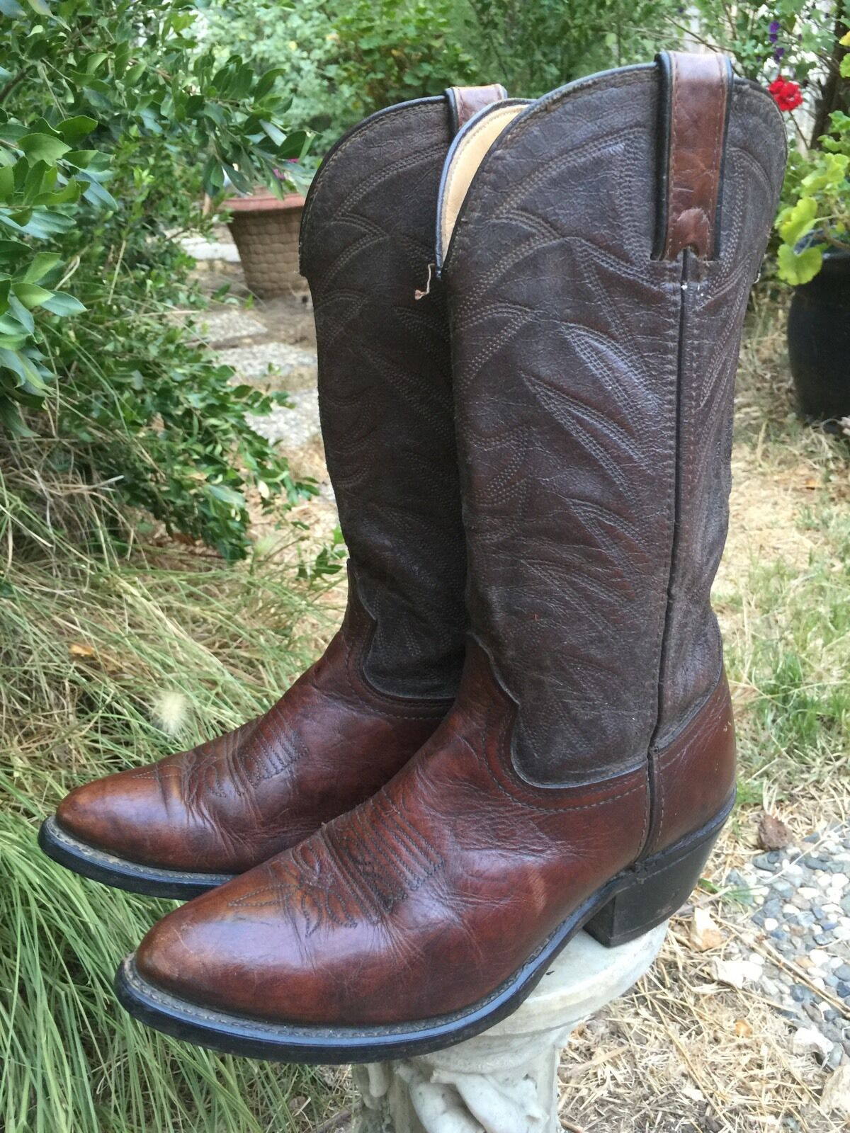 DURANGO  TR674 Mens Brown Western Leather Cowboy Boots Sz 8 D Goodyear Welt