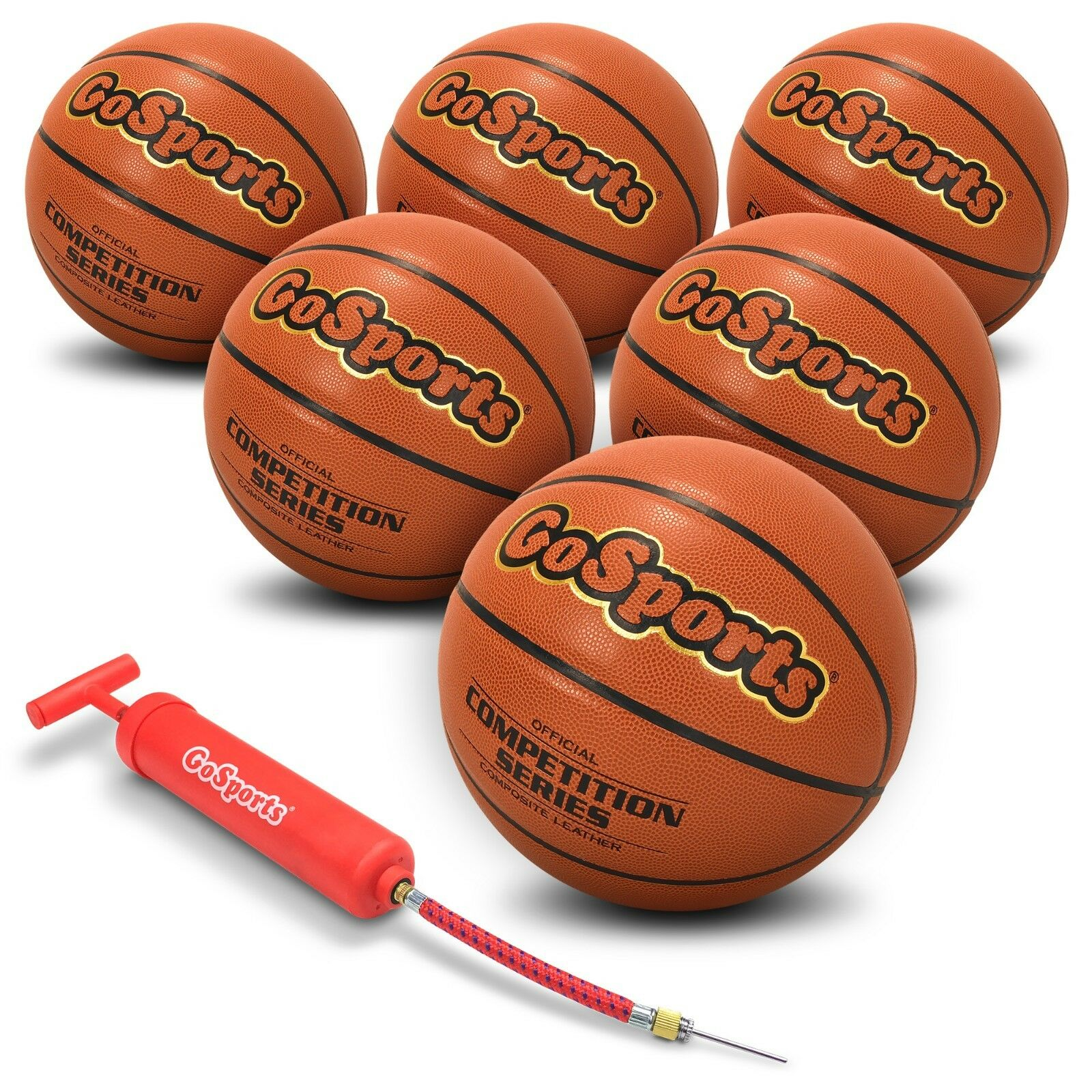 6 x Indoor Synthetic Leather Competition Basketball w Pump & Bag (Sz 7)