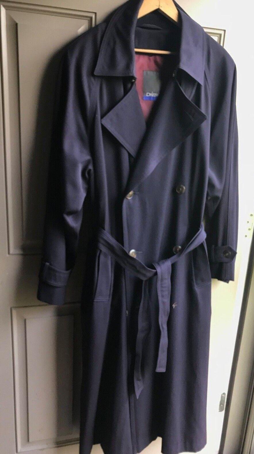 Bloomingdale's Drizzle Military BlauTrench Rain Coat Men's 36 Regular Lined