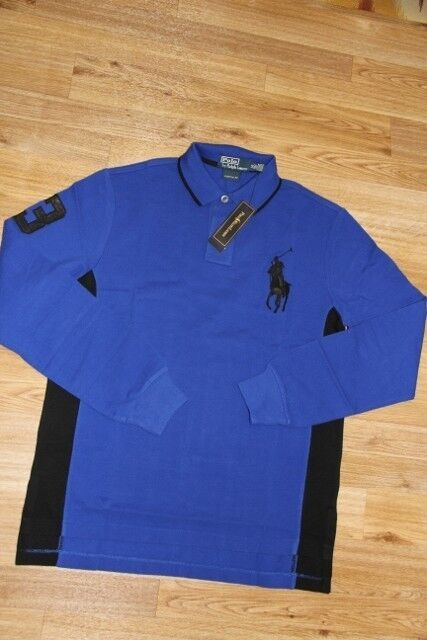 Ralph Lauren Polo Men Big Pony Blau Shirt Small S Custom Fit Leder Patch