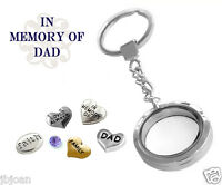 In Memory Of Dad Glass Locket Key Chain Keychain Set W/ Father Floating Charms