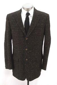 Herren braun gefleckt kariert Vintage 50s Tweed Blazer Jacke Sport Anzug Mantel 42 L