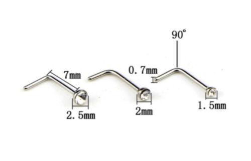 Para Nariz Acero Quirúrgico Claro Gem L-forma Pin Recto Piercing 1.5mm 2mm 2.5mm