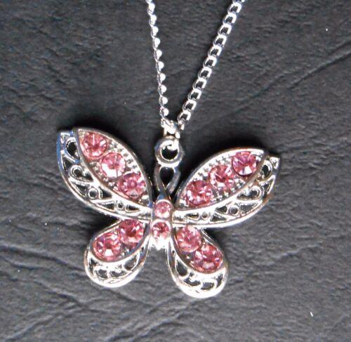 Vino Espumoso Cristales Mariposa Colgante Collar Plateado /&