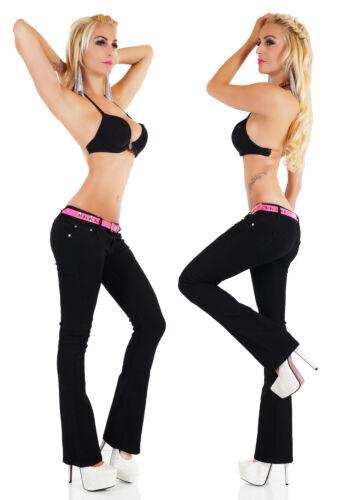 Women/'s Low Cut Bootcut Jeans Hipster Black Pants Inc Belt Size 6,8,10,12,14 HOT