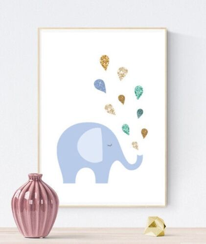 Cute Elephant Modern Nursery Print Rain Drops Baby Wall Art Decor Picture