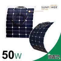 Unlimited Solar 50 Watt 12 Volt High Efficiency Flexible Solar Panel