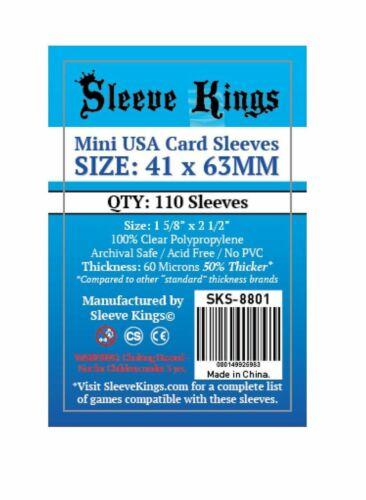 Sleeve Kings Mini USA American Board Game Sleeves Pack 41mm x 63mm
