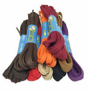 WAXED-FLAT-COTTON-SHOE-LACES-SHOELACES-4mm-wide-16-COLOURS-FREE-UK-P-amp-P