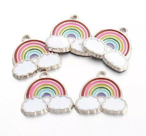 10x émail Rainbow Charms Fabrication de Bijoux Bracelets Colliers Porte-clefs Boucles d/'oreilles